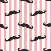Seamless vector mustache background. Pattern or texture with black curly retro gentleman mustaches on stripes white and ping background. — Stockvector