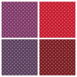 Vector sweet seamless patterns or textures set with white polka dots on pastel, colorful pink, purple, red, brown and violet background. — Cтоковый вектор