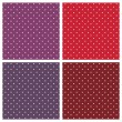 Vector sweet seamless patterns or textures set with white polka dots on pastel, colorful pink, purple, red, brown and violet background. — Vector de stock