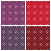 Vector sweet seamless patterns or textures set with white polka dots on pastel, colorful pink, purple, red, brown and violet background. — Stock Vector