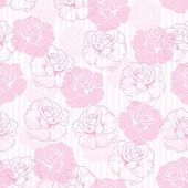 Seamless retro vector floral pattern with elegant pink roses on sweet candy pink and white stripes background. — Cтоковый вектор