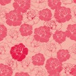 Seamless vector pink and red floral pattern, background or texture with roses. Beautiful abstract vintage texture with flowers and cute background for web design or desktop wallpaper. — Stock Vector
