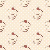 Seamless vector pattern or texture with cherry cupcakes and white polka dots on pink background. Hand drawn muffins and sweet cake dessert background with sweets for desktop wallpaper, blog website. — Stockvektor