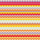 Chevron seamless colorful vector pattern or background with zig zag red, purple, yellow, pink and orange stripes. — Stock Vector