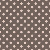 Seamless vector pastel pattern with pink beige polka dots on a dark brown background. — Stockvector