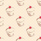 Seamless vector pattern or texture with red cherry cupcakes and white polka dots on pink background. Hand drawn muffins and sweet cake dessert background for desktop wallpaper, culinary blog website. — Stock Vector