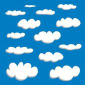 White clouds on blue sky background vector set. Cloud computing concept cartoon or bubble speech collection for flat design and use in a social networks or illustration — Stock Vector