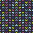 Chevron seamless vector dark colorful pattern, texture or background with zig zag yellow green, violet, navy blue and pink stripes on black background. — Stock Vector