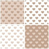Seamless vector pastel hearts background set. Full of love pattern for valentines desktop wallpaper or website design in white, brown and beige color — Stock Vector