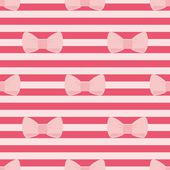 Seamless vector tile pattern with pastel pink bows on a red strips background. For decoration, desktop wallpaper or cute website design — Stock Vector