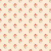 Seamless vector pattern or texture with little cherry cupcakes, hand drawn muffins and sweet cake dessert. Background with sweets for desktop wallpaper, decoration or culinary blog website. — Stockvektor
