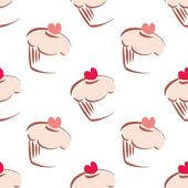 Seamless white vector pattern or background with big cupcakes silhouettes, muffin sweet cake and red heart on top. Texture with sweets for desktop wallpaper or culinary blog website — Stock Vector