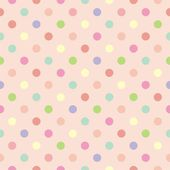 Colorful vector background with polka dots on baby pink background - retro seamless pattern or tile texture — Stock Vector