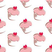 Seamless white vector pattern or tile background with big cupcakes silhouettes, muffin sweet cake and red heart on top. Texture with sweets for desktop wallpaper or culinary blog website — Stock Vector