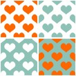 Seamless vector pastel hearts tile background set. Full of love pattern for valentines desktop wallpaper or website design in white, orange and pastel mint green color — Stock Vector #44452347