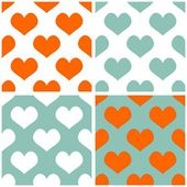 Seamless vector pastel hearts tile background set. Full of love pattern for valentines desktop wallpaper or website design in white, orange and pastel mint green color — Stock Vector