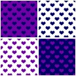 Seamless blue vector tile background set with hearts. Full of love pattern for valentines desktop wallpaper or website design in white, dark navy blue and pastel purple violet color — Stock Vector #44487527