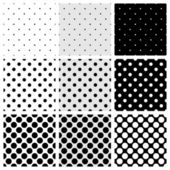 Seamless black, white and grey vector pattern or background set with big and small polka dots — Cтоковый вектор