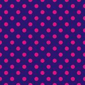 Bezešvá vektorová vzorek, kachlová pozadí nebo textury s tmavě růžovými puntíky na námořníka tmavě modré pozadí. — Stock vektor