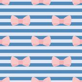 Seamless vector pattern with pastel pink bows on sailor navy blue tile stripes background. For desktop wallpaper and fashion website design — Wektor stockowy