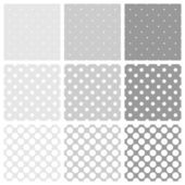 Seamless vector white and grey tile pattern or background set with big and small polka dots. — Vecteur