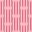 Seamless vector pattern with pastel pink bows on a red tile strips background. — Stock Vector #46265845
