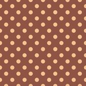Tile vector pattern with orange polka dots on a dark brown background. — Vetorial Stock