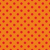 Tile vector pattern, seamless texture or background with red polka dots on orange background — Stock Vector