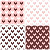 Seamless vector background set with hearts. Full of love pattern for valentines tile desktop wallpaper — Stock Vector