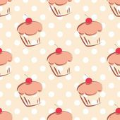 Seamless vector pattern or tile texture with cherry cupcakes and white polka dots on pink background. — Stockvektor