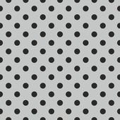 Seamless black and grey vector pattern or tile background with polka dots. — Vector de stock