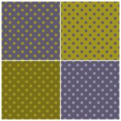 Seamless dark vector pattern set with colorful blue, grey and green polka dots on green and violet grey background for tile halloween desktop wallpaper and website design — Vector de stock