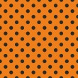 Tile vector pattern, texture or background with seamless black polka dots on orange background — Stock Vector
