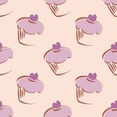 Seamless vector lavender pattern or tile background with big cupcakes silhouettes, muffin sweet cake and violet heart — Vettoriale Stock