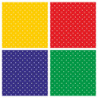 Tile vector background set with white polka dots on colorful red, yellow, green and dark navy blue background — Stock Vector #46747533