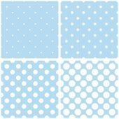 タイル パターン ベクトル パステル赤ちゃん青い背景に白の水玉を設定. — ストックベクタ