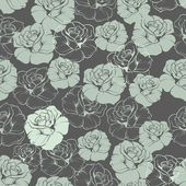 Seamless floral vector pattern or tile background with mint green and blue retro roses on dark background. — Stock Vector