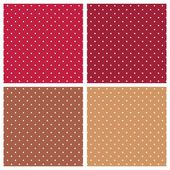 Polka dots vector tile background red and brown set. — Stock Vector