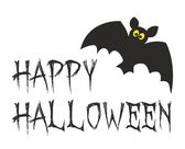 Happy Halloween party card with bat. Vector illustration isolated on white background. — Stock Vector