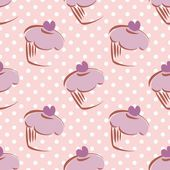 Seamless vector lavender pattern or tile background with white polka dots and big hand drawn cupcakes — Stok Vektör