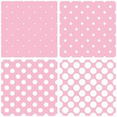 Seamless vector pattern set or tile background collection with white polka dots on a pastel pink background. — Stock Vector