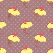 Seamless vector pattern with tile lemon cupcakes, muffins, sweet cake with pink heart on top and polka dots on violet background — Cтоковый вектор