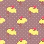 nahtloser Vektor-Muster mit Fliese Zitrone Muffins, Muffins, Süße Kuchen mit Rosa Herz an der Spitze und Polka Dots auf violetten Hintergrund — Stockvektor  #47262827