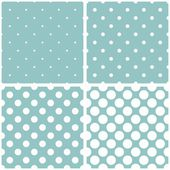 Seamless vector pattern set with tile white polka dots on a pastel baby blue background. — Stock Vector