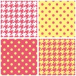 Houndstooth tartan and polka dots seamless pastel yellow, pink and white vector pattern set. — Stok Vektör #47671809