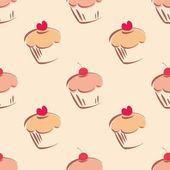 Seamless vector pattern or tile texture with little cupcakes, muffins, sweet cake cherry and red heart on top. — Stock Vector