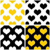 Tile vector yellow, black and white background set with hearts. — Stock Vector