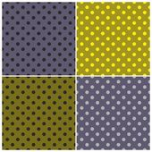 Tile vector dark pattern set with blue, grey, yellow and green polka dots on green and navy blue background — ストックベクタ
