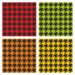 Tartan vector black, green, yellow and orange tile background collection. Dogtooth seamless pattern set — Stockvector
