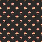 Seamless vector dark pattern, texture or background with big sweet muffin cupcakes on chocolate black background. Red lovely heart on top. For web design, culinary blog or desktop wallpaper — Stok Vektör